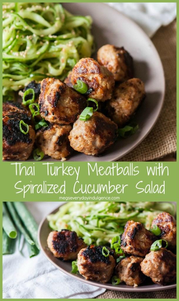 Thai Turkey Meatballs with Spiralized Cucumber Salad
