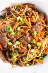 Making your own Beef Lo Mein at home is easier than you may think. A few classic Asian ingredients from the grocery store will result in better than takeout in just minutes at home.