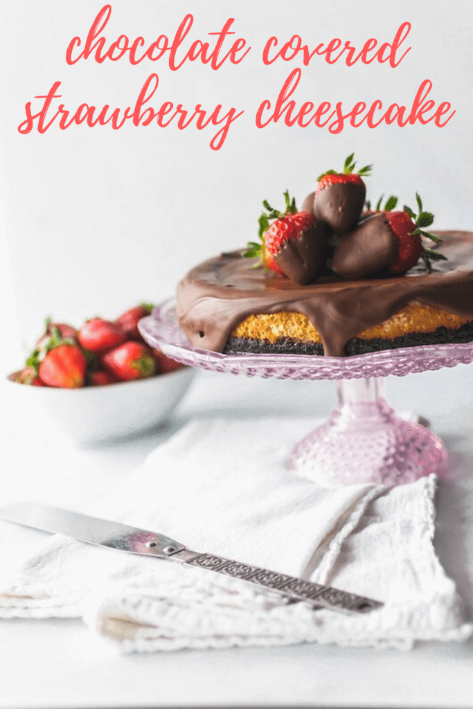 This sweet, creamy Chocolate Covered Strawberry Cheesecake is the ultimate dessert. Strawberry scented cheesecake topped with a delicious chocolate ganache and decorated with chocolate strawberries.