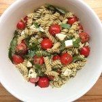 Pasta with Pesto, Mozzarella, and Cherry Tomatoes
