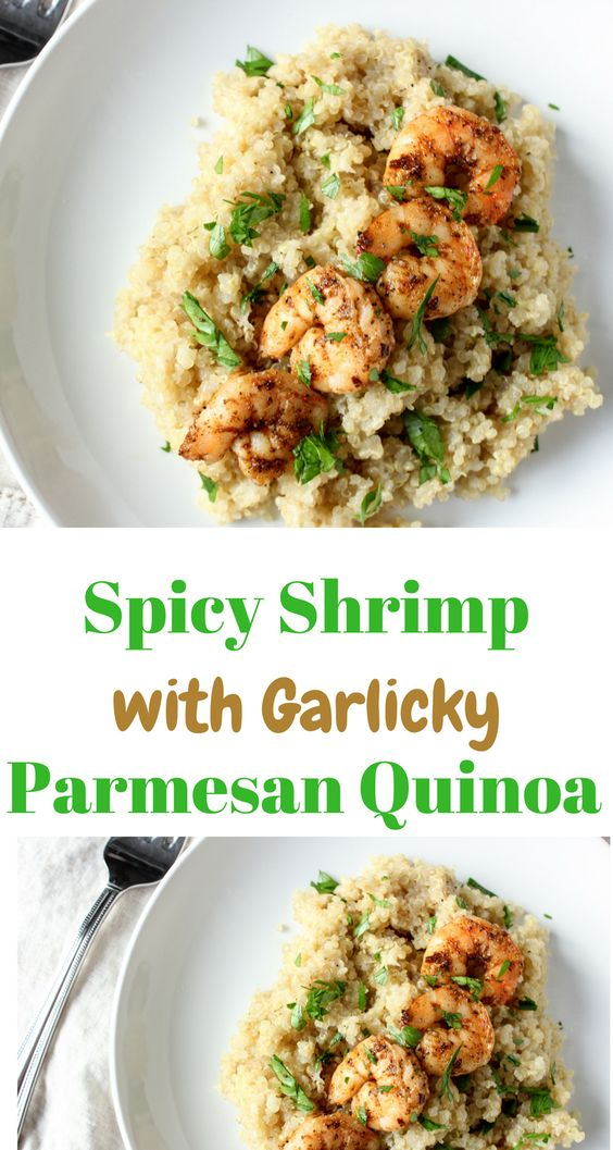 Spicy shrimp with garlicky parmesan quinoa