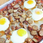 Sheet Pan Eggs, Potatoes, and Chicken Sausage