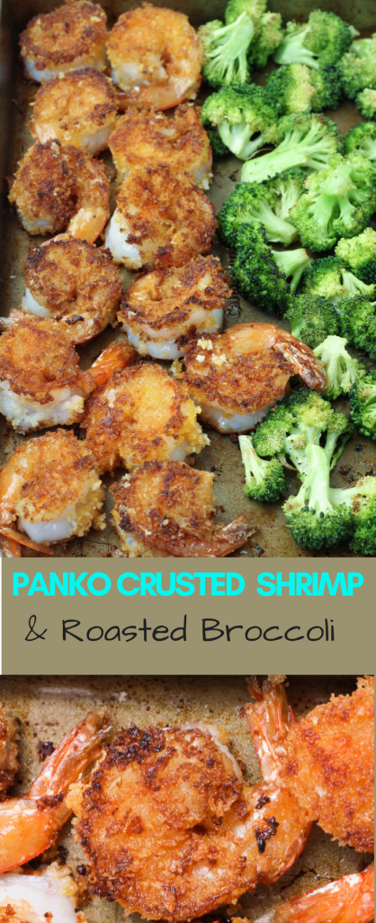 Panko crusted shrimp and roasted broccoli