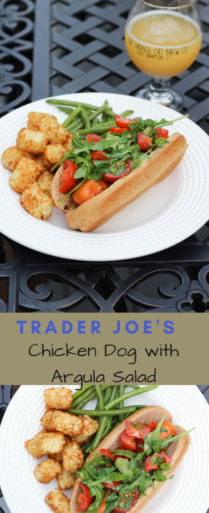 Trader Joe's chicken dog with arugula salad