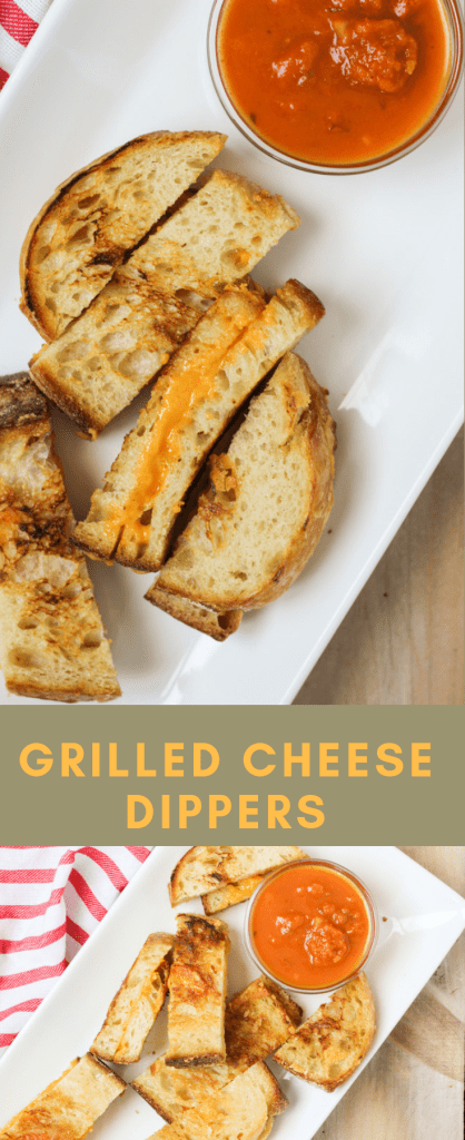 Grilled cheese dippers and soup