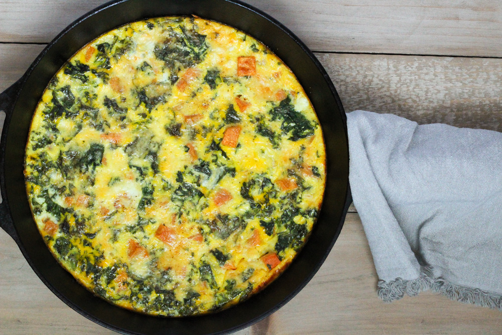 Kale and sweet potato frittata