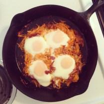 Sweet Potato Hash, Bacon, and Egg