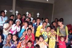 Children refugees from eruption of Mt. Sinabung