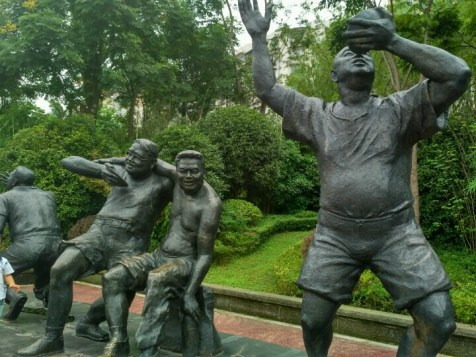 Statue park in Luzhou...yes, they are statues of drunk people.