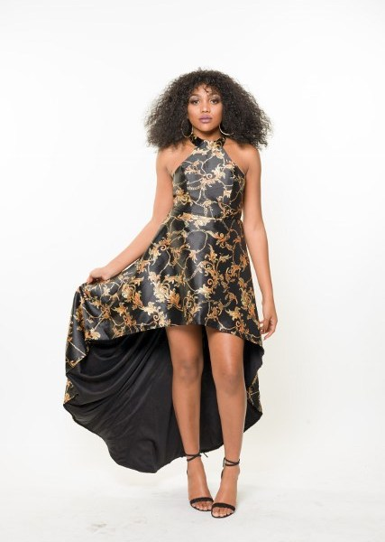 Black And Gold High Low Dress Megurl Official Site