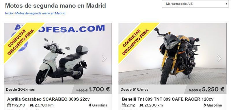 Autofesa, venta de motos de segunda mano