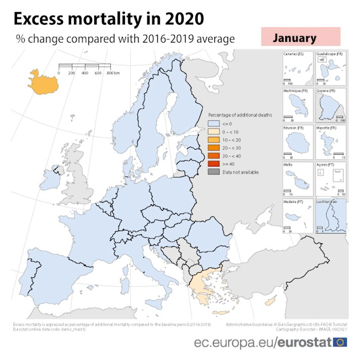 🆕📉 In July 2021, excess #mortality in the EU further decreased to 4.4%, the lowest rate since