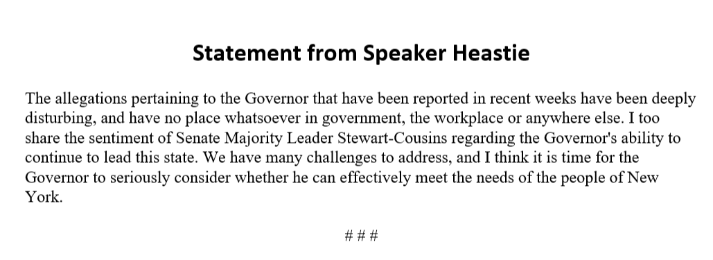 JUST IN - NY Assembly Speaker Carl Heastie demands Governor Cuomo