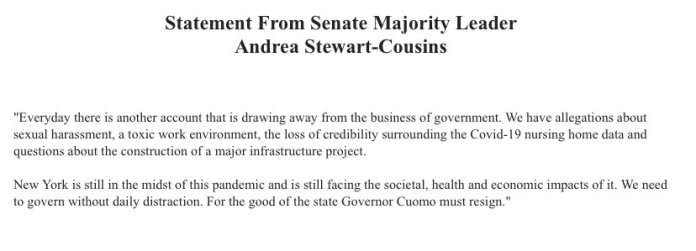 JUST IN - NY Senate Majority Leader Andrea Stewart-Cousins calls on Gov. Cuomo to resign.