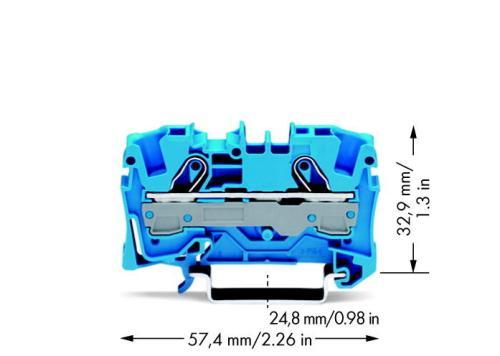 WAGO Prolazna klema za 2 provodnika - Za provodnike 6 mm2 - Nominalna struja 41 A - Centralno i bočno označavanje - Za DIN-šinu 35 x 15 i 35 x 7.5 - 2006-1204