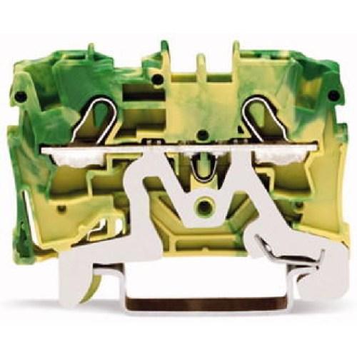 WAGO Prolazna klema za 2 provodnika - Za provodnike 4 mm2 - Klema za uzemljenje - Centralno i bočno označavanje - Za DIN-šinu 35 x 15 i 35 x 7.5 - 2004-1207