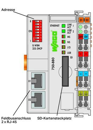 WAGO Kontroler Ethernet - 3-generacija - SD kartica - Telecontrol tehnologija - za ekstremne temperature - ECO - 750-880/025-002