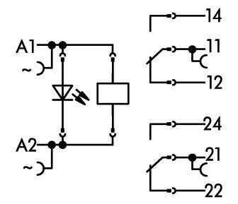 WAGO Postolje relea sa releom i indikatorom statusa - 2 preklopna kontakta - 230 VAC - 788-516