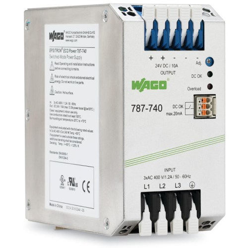 WAGO Svičersko (switched mode) napajanje - EPSITRON® ECO POWER - tro-fazno - 24 VDC - 10 A - DC OK kontakt - 787-740