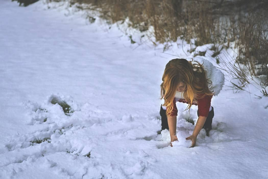 Girl making snowball