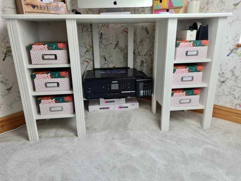 IKEA Brusali Corner Desk shelves and printer