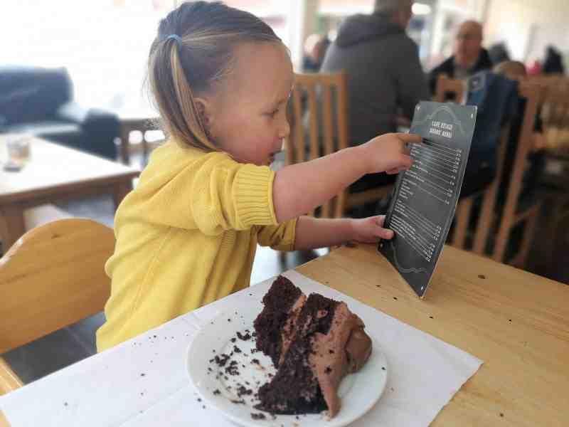 Erin looking at the menu