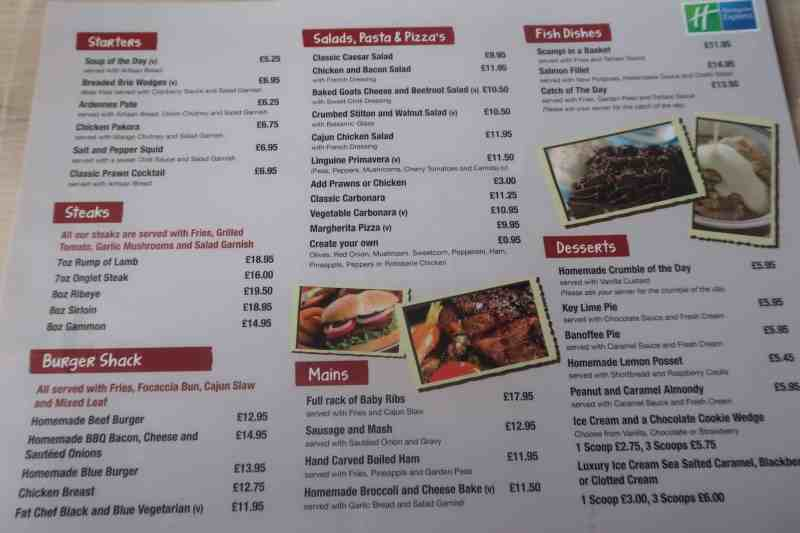 Dining At The Holiday Inn Express London - Stansted Airport Hotel menu