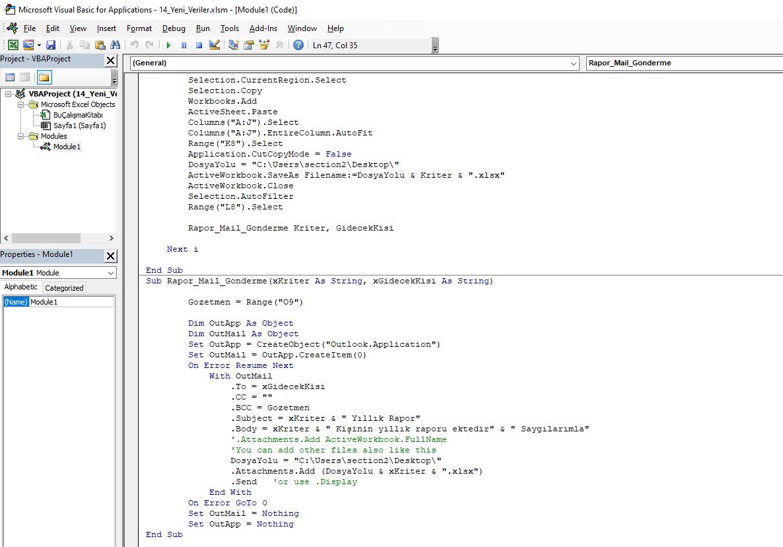 Microsoft Excel Vba Makro Ile Raporlama Ve Mail Gonderme