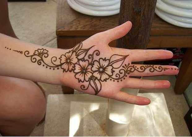 Floral Arabic-simple Mehndi-Designs for left hand front side palm