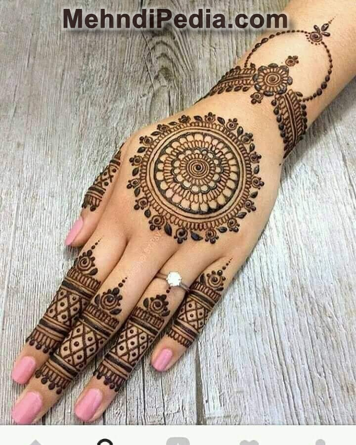beautiful circular type mehndi henna design for left hand back side