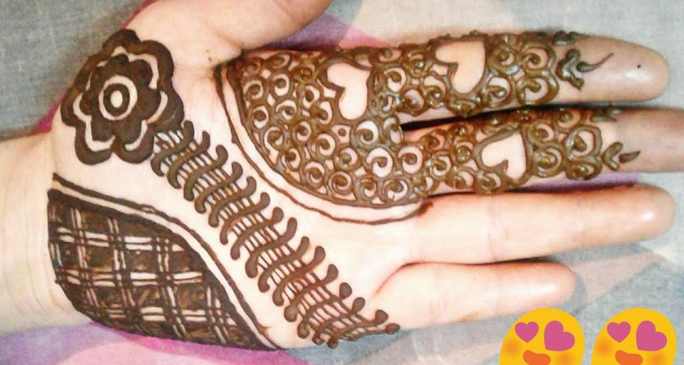 easy to drawing front hand mehndi style