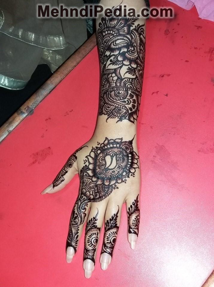 finger to wrist left hand mehndi designs full hand back side easy only