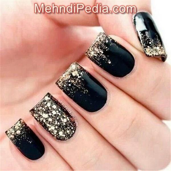black color simple nail art images