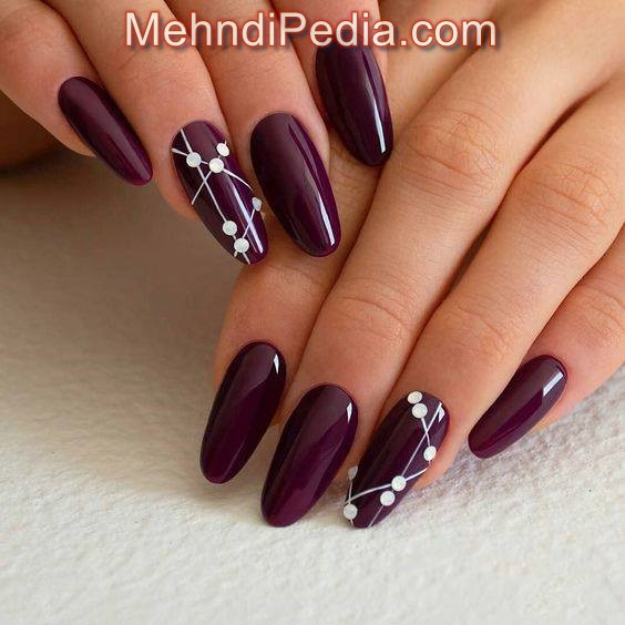 maroon color nail art at home without kit