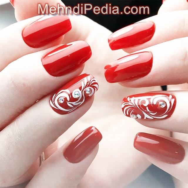 red color with flower rose nail art