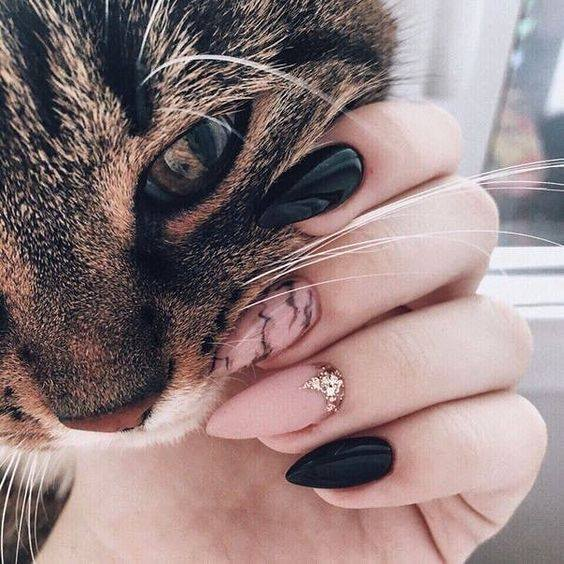 Cranberry and Gold Short Nail Design with cat