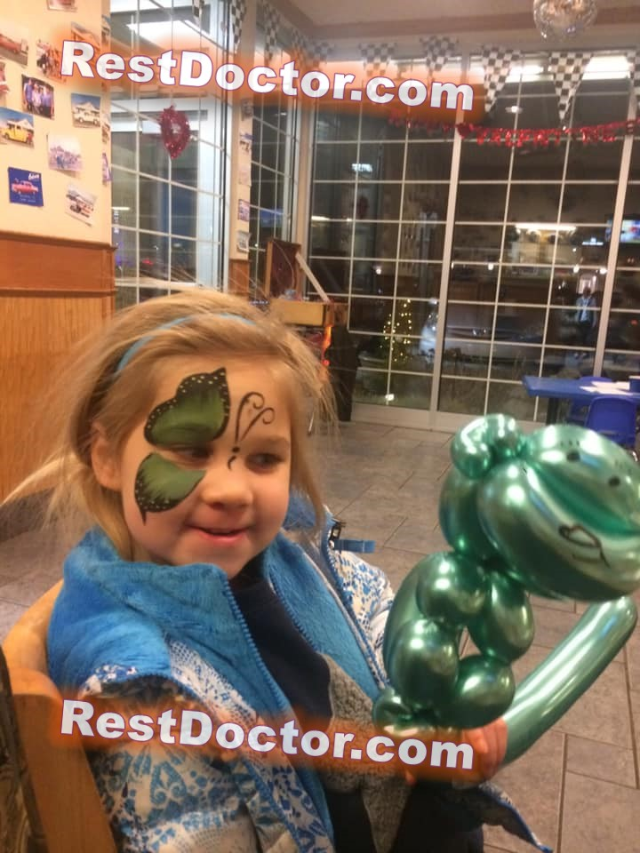 easy green butterfly face paint for kid