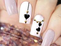 Pink Autumnal Nails with heart sign