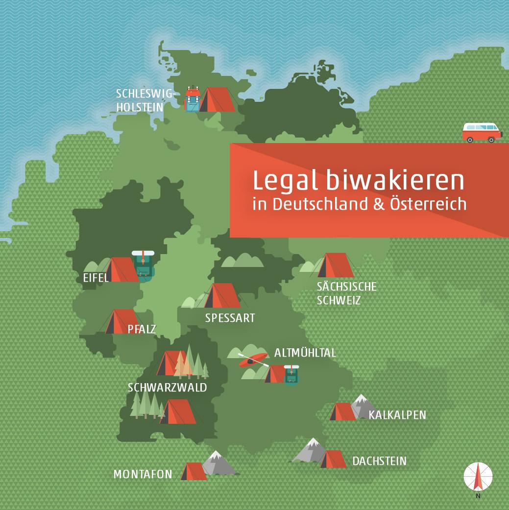 Legal Biwakieren - Biwak- und Naturzeltplätze in Deutschland und Österreich