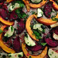 Röst-Gemüse aus dem Ofen mit Ahornsiurp - Rote Bete, Kürbis und Zucchini