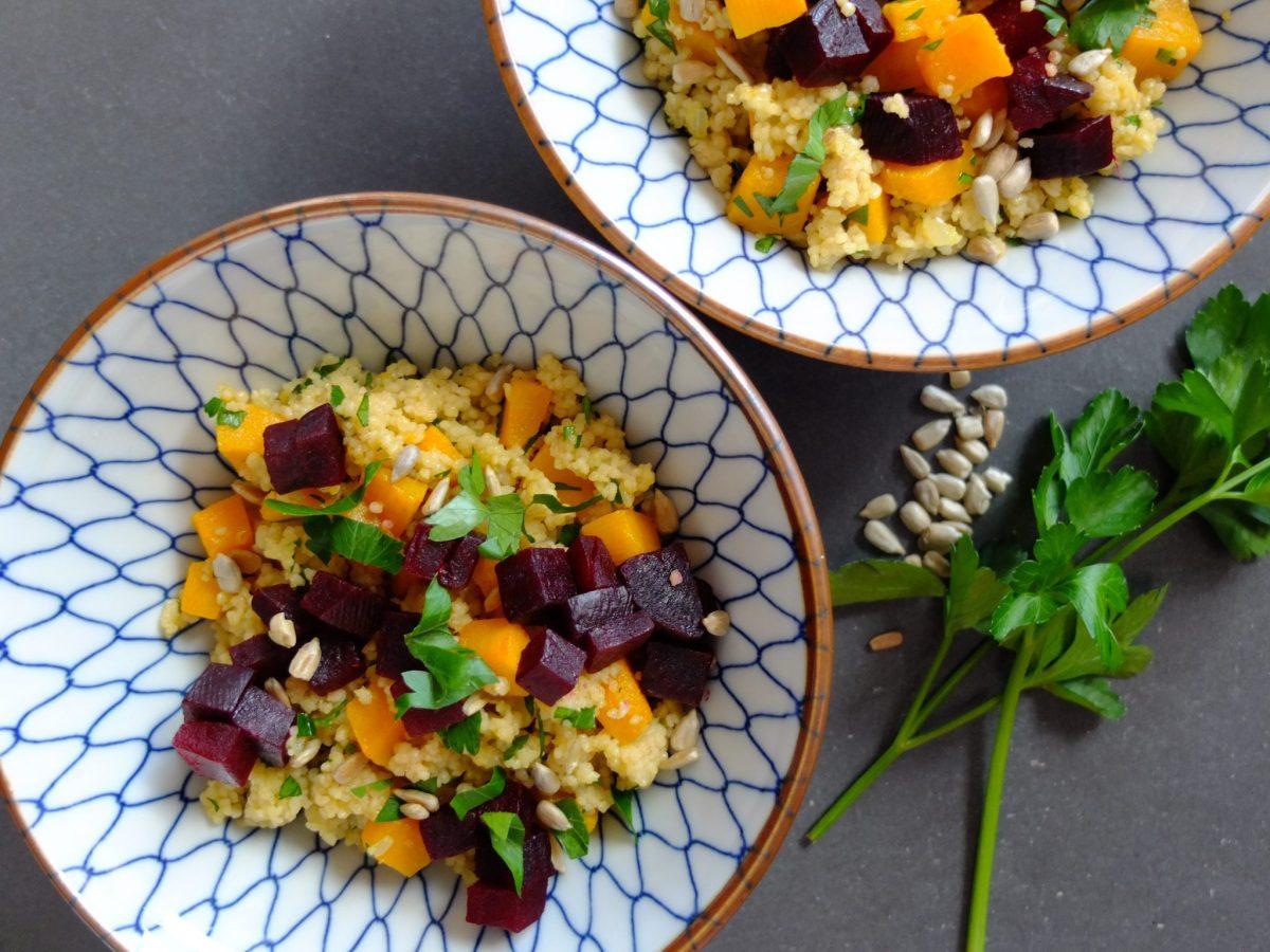 Couscous mit Kürbis, Rote Beten und Sonnenblumenkernen (vegan)