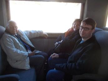 John, Lise, Chris in train car