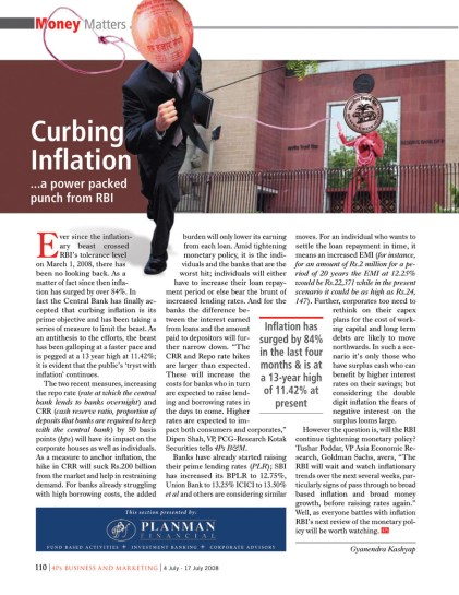 Money matters - inflation