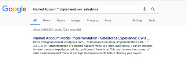 Google Search: Named Account * Implementation salesforce