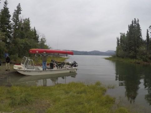 the motorboat at Lake LeBarge
