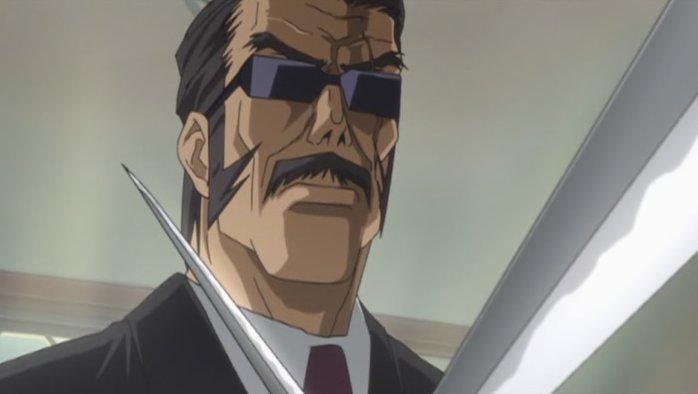 Fairly stereotypical as Yakuza go. Scars and Katana etc.