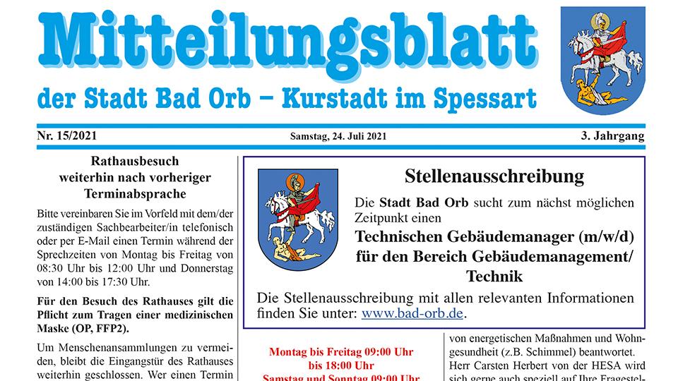 Mitteilungsblatt 15 2021