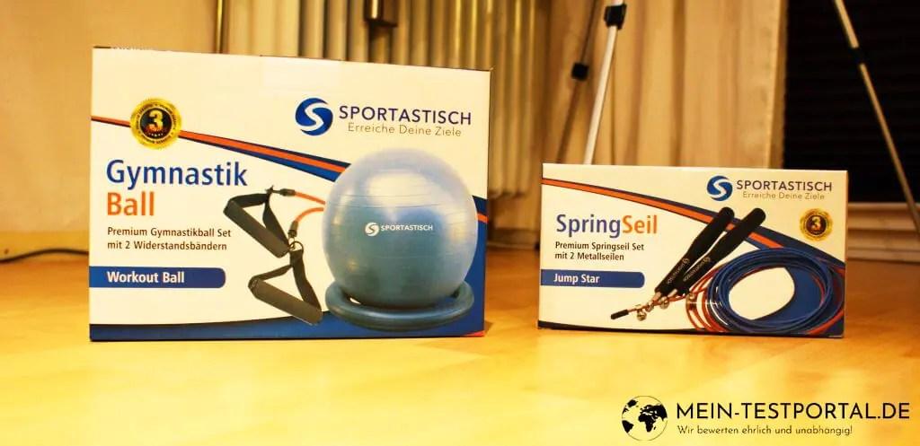 Gymnastikball und Springseil von Sportastisch