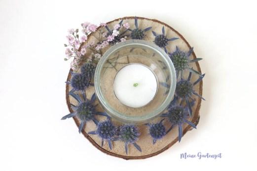 Teelicht Deko mit Edeldisteln für Hochzeitsdeko