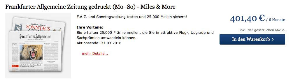 25.000 Miles & More Meilen mit dem 6-monatigen Testabo von Frankfurter Allgemeine Zeitung